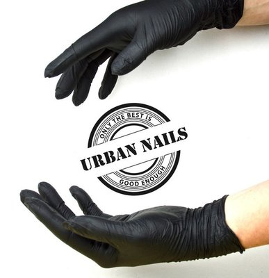 Urban Nails Nitril Handschoenen black L